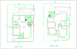 Low and high floor plan of residential area with architecture view dwg file