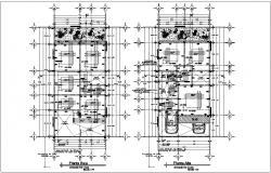 Low and high floor plan of residential area with construction view dwg file