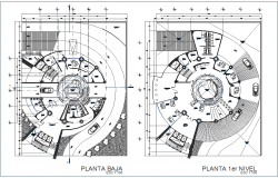 Low floor plan and first floor plan of high rise building dwg file