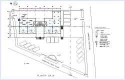 Low floor plan of electrical view of office dwg file