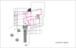Low floor plan view for administration building dwg file