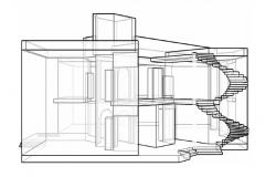 Luxuries bungalow main sectional cad drawing details dwg file