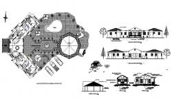 Luxuries club house all sided elevation, section and plan details dwg file
