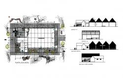 Luxuries club house elevation, section and distribution plan details dwg file