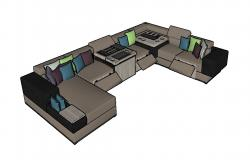 Luxuries modern couch 3d model cad drawing details skp file