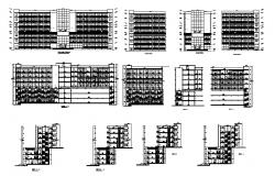 Luxuries multi-level five star hotel all sided elevation and sectional details dwg file