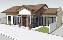 Luxuries one family 3d house cad drawing details skp file
