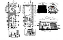 Luxuries restaurant elevation, section and floor plan details dwg file