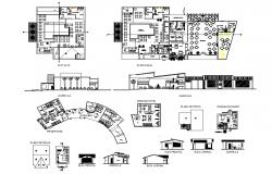 Luxuries star resort elevation, section, floor plan and auto-cad details dwg file