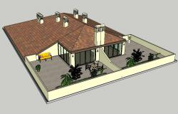 Luxuries two-level bungalow 3d design cad drawing details dwg file