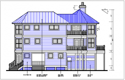 Luxurious House elevation view detail dwg file