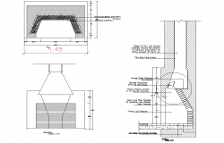 Machine core cutting plan and section detail dwg file