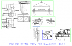 Machine detail view for slaughter house for leather plant dwg file