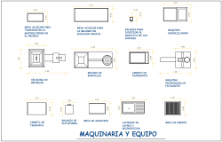 Machinery and equipment different logo and symbol view for processing plant dwg file