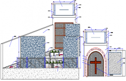 Main Elevation of Church Architecture Design dwg file
