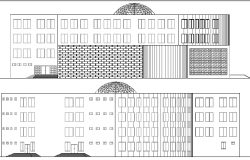 Main Elevation of City Library Architecture Layout dwg file