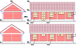 Main Elevation of Health Center Architecture Design dwg file