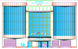 Main Elevation of Multi-Flooring Hotel Architecture Design dwg file