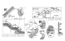 Main access staircase of hall center section, plan and construction details dwg file