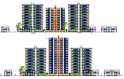 Main all sided elevation of multi-family residential apartment flats dwg file