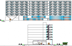 Main and back elevation details of multi-flooring college design dwg file