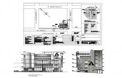 Main and cut elevation, site plan and auto-cad details of Association of savings and credits san martin building dwg file