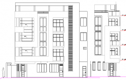 Main and side elevation of four level housing building dwg file
