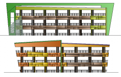 Main back side elevation of government auditorium hall dwg file