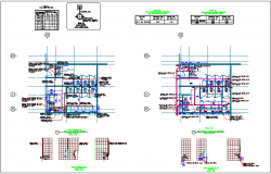Main building design with view of piping plan of toilet dwg file
