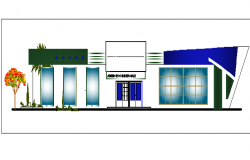 Main cut elevation view of telecommunication agency building dwg file