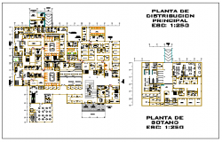 Main distribution plant basement floor of Hospital design drawing