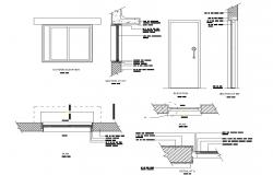 Main door and window elevation and installation details of house dwg file