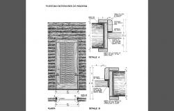 Main door installation details of roof house cad drawing details dwg file