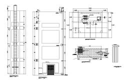 Main door of building elevation and installation details dwg file