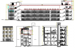 Main elevation and cut sectional view of shopping mall dwg file