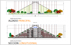 Main elevation and longitudinal sectional view for university dwg file