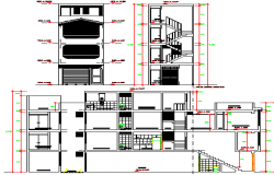 Main elevation and section plan of corporate building dwg file