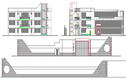 Main elevation and sectional details of local commercial market dwg file