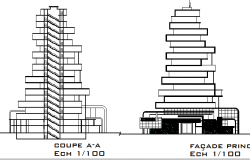 Main elevation and sectional details of tour-ecologic center dwg file