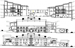 Main elevation and sectional view details of fish processing plant dwg file