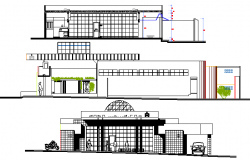 Main elevation and sectional view of municipality government office dwg file