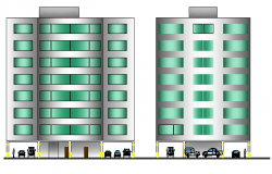 Main elevation details of corporate office building dwg file