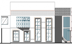 Main elevation details of national bank dwg file