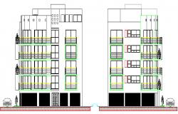 Main elevation of multi-flooring housing apartment dwg file