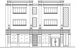Main elevation view of bank agency office building dwg file