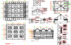 Main elevation with constructive details of shopping center dwg file