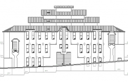 Main front elevation details of urban industrial plant dwg file