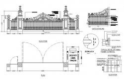 Main gate and fence elevation, plan and installation details dwg file