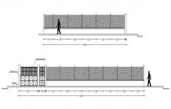 Main gate and fence elevation and section drawing details dwg file