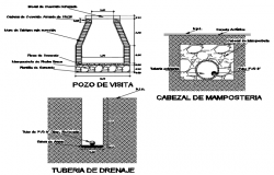 Main hole and Darin pipe detail dwg file